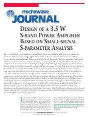[MWJ0407]_Design_of_a_3.5_W_S-band_Power_Amplifier_Based_on_Small-signal_S-parameter_Analysis.pdf