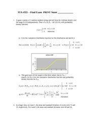 Sample Exam 4A Solution on Introduction to Probability