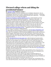 Electoral college reform and tilting the presidential balance