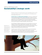 Sustainabilitys strategic worth McKinsey Global Survey results