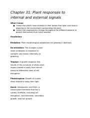 Chapter 31: Plant responses to internal and external signals