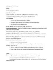 Critical Thinking Review Sheet