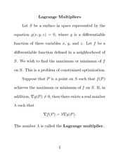Lagrange Multipliers Notes