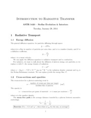 Radioactice Transfer Lecture Notes
