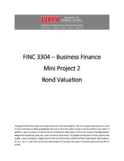 FINC 3304 Mini Project 2 - Bond Valuation