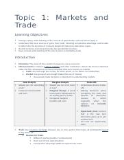 Topic 1 - Markets and Trade