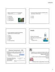 March 20 Chemical Hazards