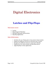 Lecture 15 ... Latches and Flip-Flops