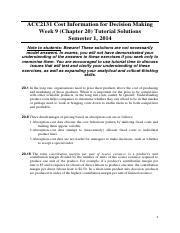Chapter 20 Tutorial Solutions (Discussed in Week 9 Tutorial)