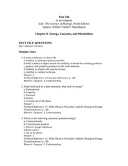 Ch 8 Test File-Energy, Enzymes, and Metabolism