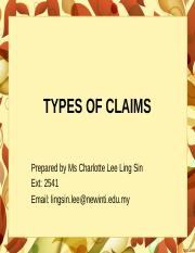 CRI_CHAP 2_TYPES OF CLAIMS