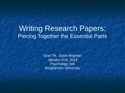 Lecture 14- Writing Research Papers