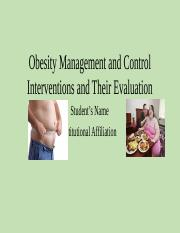 Intervention and Evaluation of Obesity