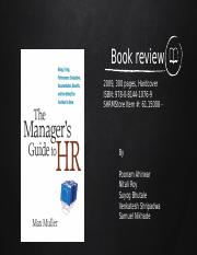 Manager's Guide to HR BOOK REVIEW