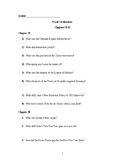 World Civ Worsheet Chapter 29-31