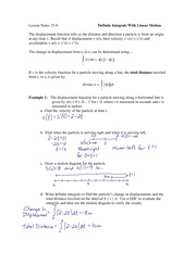 15.8 Definite Integrals With Linear Motion