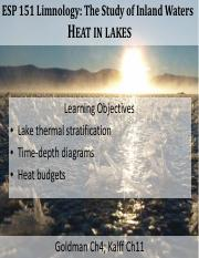 05- ESP151 Lecture Heat in Lakes
