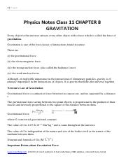 Physics Notes Class 11 CHAPTER 8 GRAVITATION.pdf