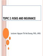 topic 2 - Risks and Insurance