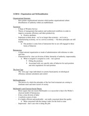 Organizations and McDonaldization Notes
