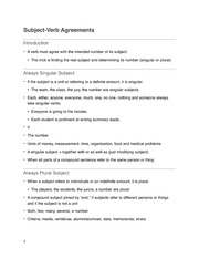 Subject Verb Agreement Notes