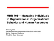 MHR 701--Introduction and Course Overview (for Carmen)