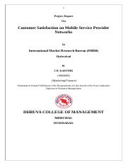 project on Customer Satisfaction Towards Mobile Service Providers.doc