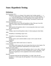 Stats - Hypothesis Testing