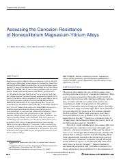 Assessing the corrosion resistance of Non-equilibrium Mg-Y Alloys
