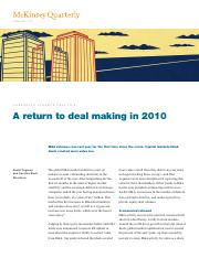 Corporate Finance Practice - A return to deal making in 2010-McKinsey
