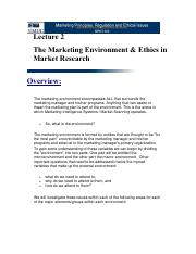 Lecture 2 Marketing Environment and Ethics in Market Research