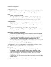 Rels Test #1 Islam Study Guide