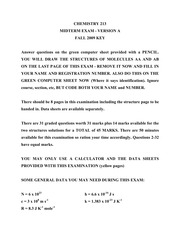 CHEM 213 Fall 2009 Midterm 1 Version A Solutions