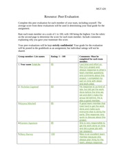 Resource 2 Peer Evaluation Form