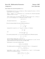 ECON 431 Summer 2007 Assignment 6 Solutions