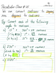 MATH 105 Fall 2013 Radians to Degrees Lecture Notes