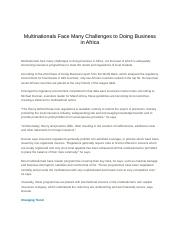 Multinationals Face Many Challenges to Doing Business in Africa .docx