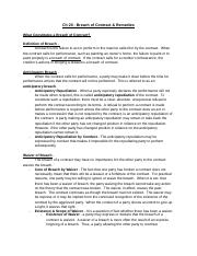 Ch 20 Breach of Contract & Remedies .docx