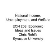 ECN 203 class 15 national income, unemployment, and welfare