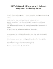purpose and value of integrated marketing paper This document comprises mkt 498 week 1 individual assignment purpose and value of integrated marketing paper get a 10 % discount on an order above $ 50 use the.