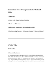 Journal 2 Developments in the West and Africa_1