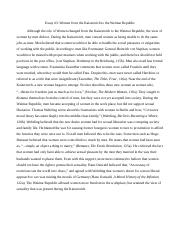 German History Essay 3 Women