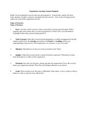 Negotiation Learning Journal Template