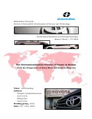 internationalization theory of toyota in europe