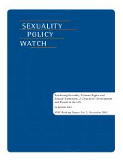 Q2 Saiz, I. (2004). Bracketing sexuality Human rights and sexual orientation – A decade of developme