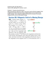 Problem Set 6 (Magnetic Field 2)