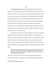 ANONYMOUS STUDENT FINAL DRAFT OF MILTON FREIDMAN CAPITALISM AND FREEDOM Example Essay