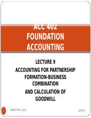 LECTURE 9 - Partnership formation n goodwill