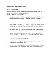 Lecture 8 Notes Lewis Structure Studies