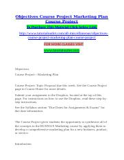 Objectives Course Project Marketing Plan Course Project